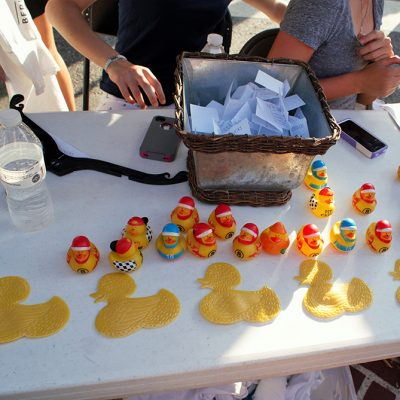Rubber duckies on a table