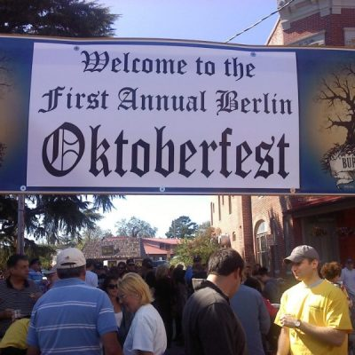 A sign to welcome the First Annual Berlin Oktoberfest