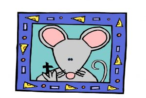 mouse with in a picture frame cartoon with pizzas in the border
