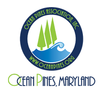 blue and green logo for ocean pines association inc